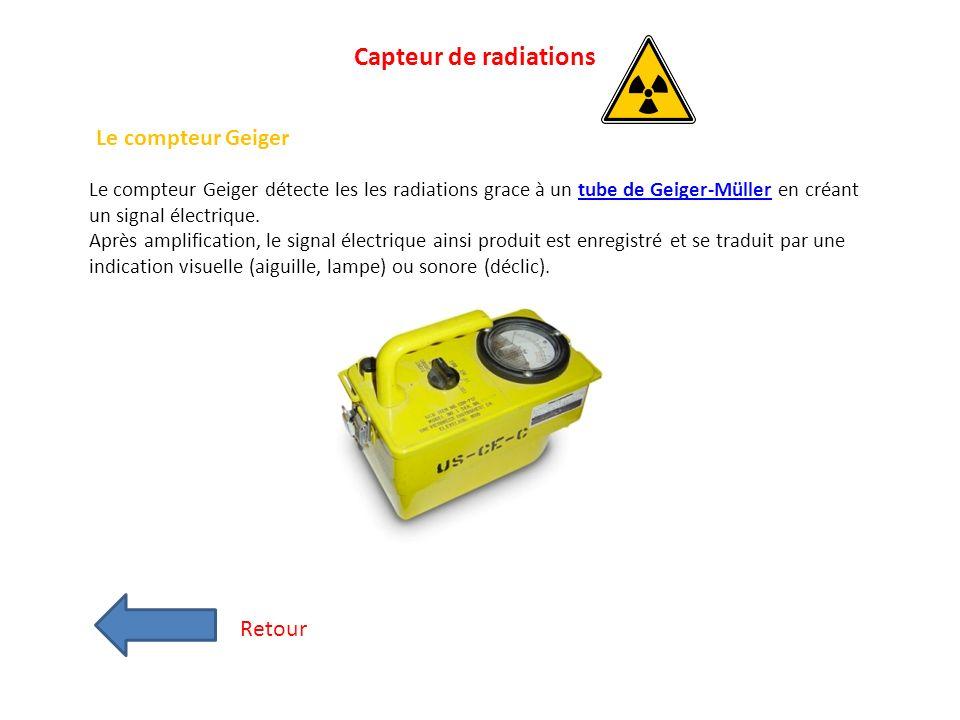 Capteur de radiations Le compteur Geiger Retour
