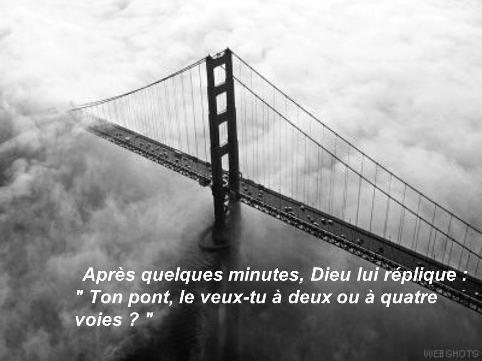 Après quelques minutes, Dieu lui réplique : Ton pont, le veux-tu à deux ou à quatre voies