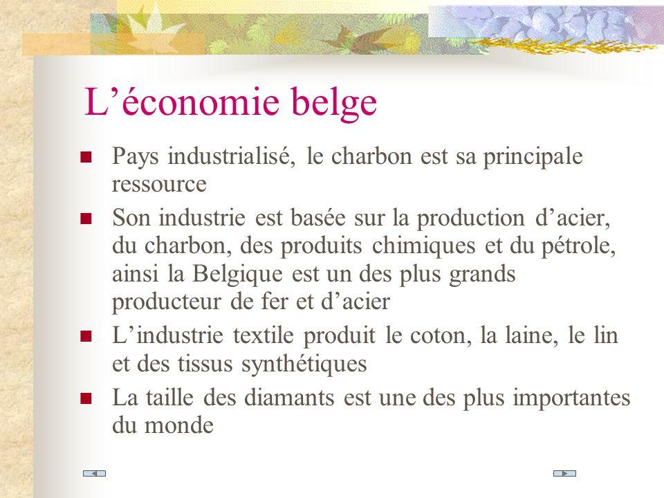 L'économie belge Pays industrialisé, le charbon est sa principale ressource.