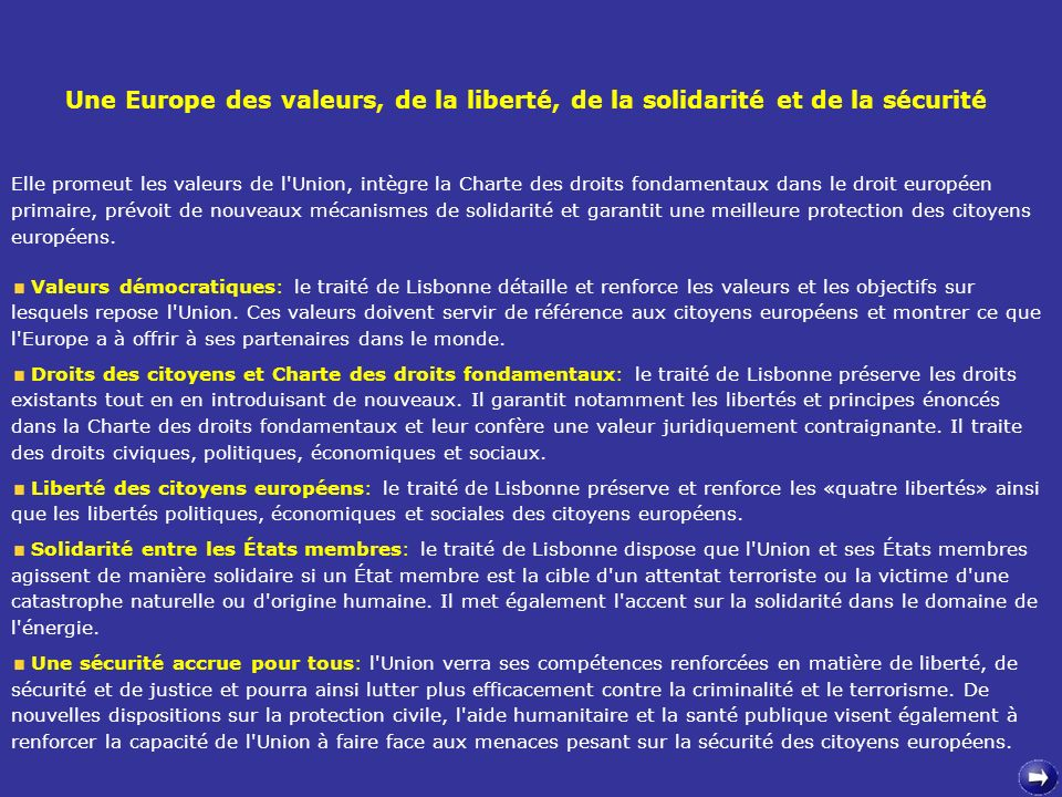 Une Europe des valeurs, de la liberté, de la solidarité et de la sécurité