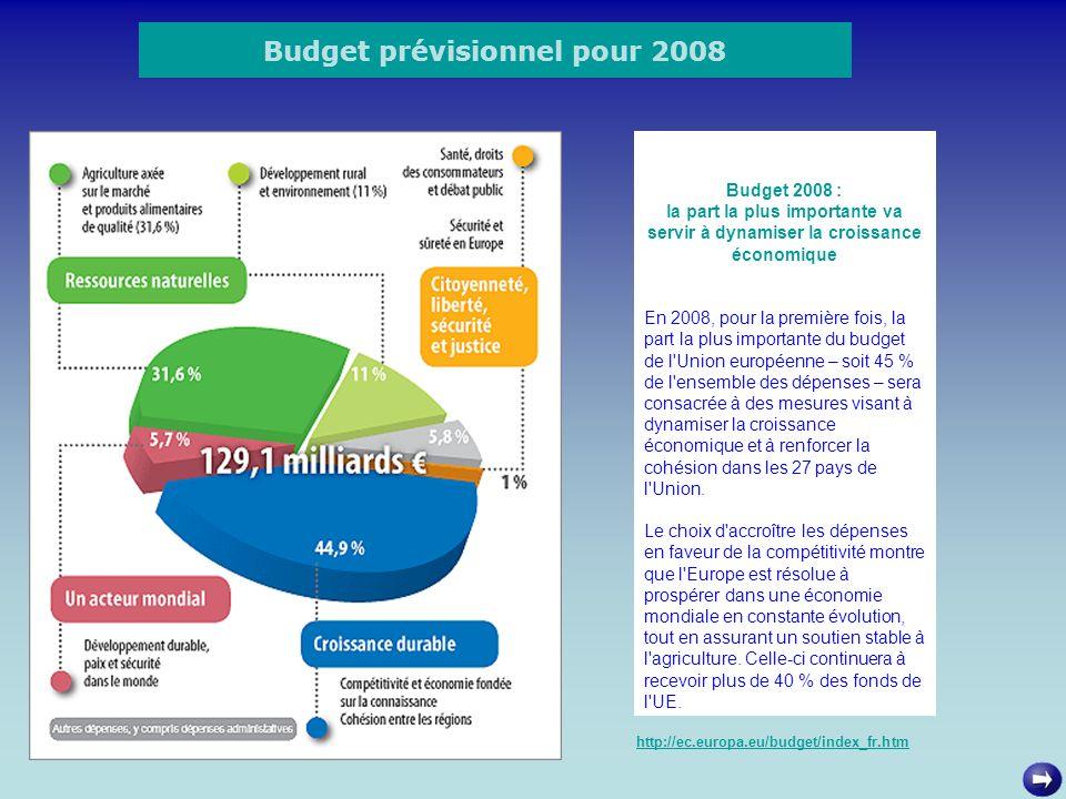 Budget prévisionnel pour 2008