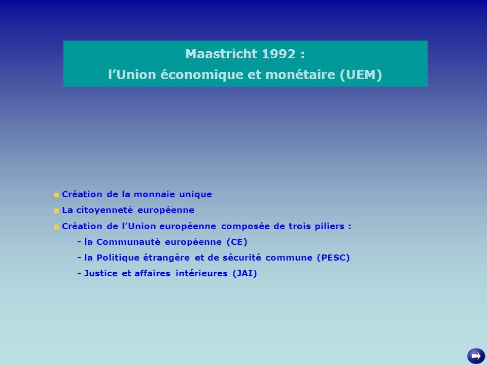 Maastricht 1992 : l'Union économique et monétaire (UEM)