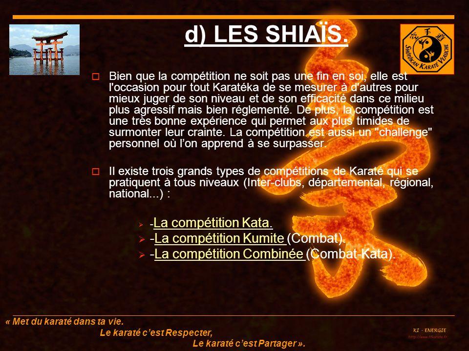 d) LES SHIAÏS. -La compétition Kumite (Combat).