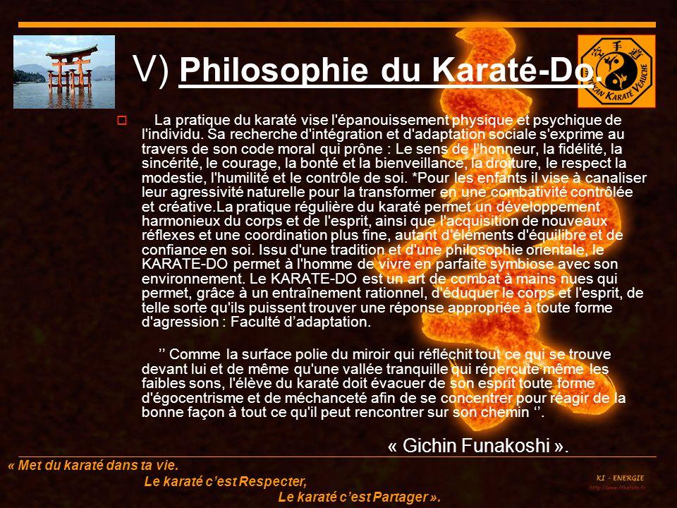 V) Philosophie du Karaté-Do.