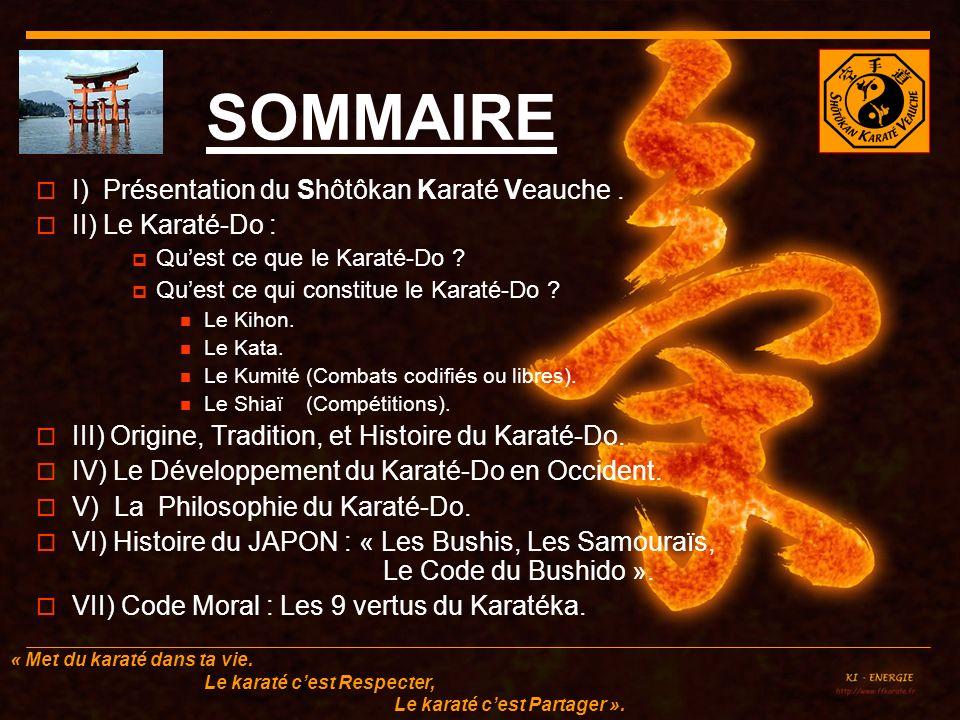 SOMMAIRE I) Présentation du Shôtôkan Karaté Veauche .