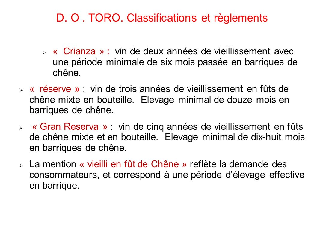 D. O . TORO. Classifications et règlements