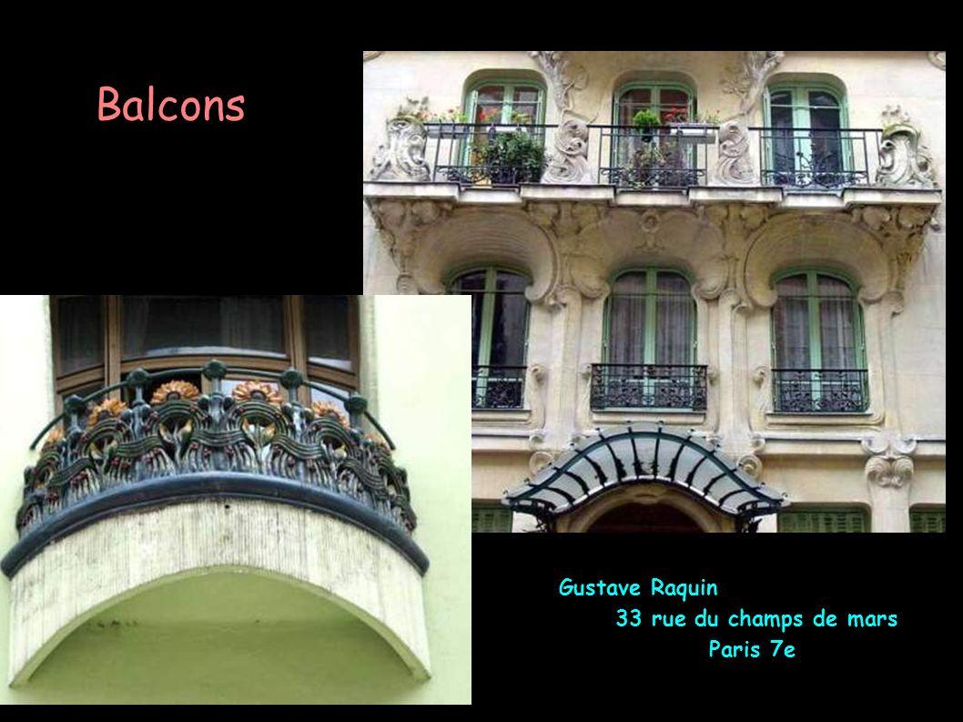 Balcons Gustave Raquin 33 rue du champs de mars Paris 7e