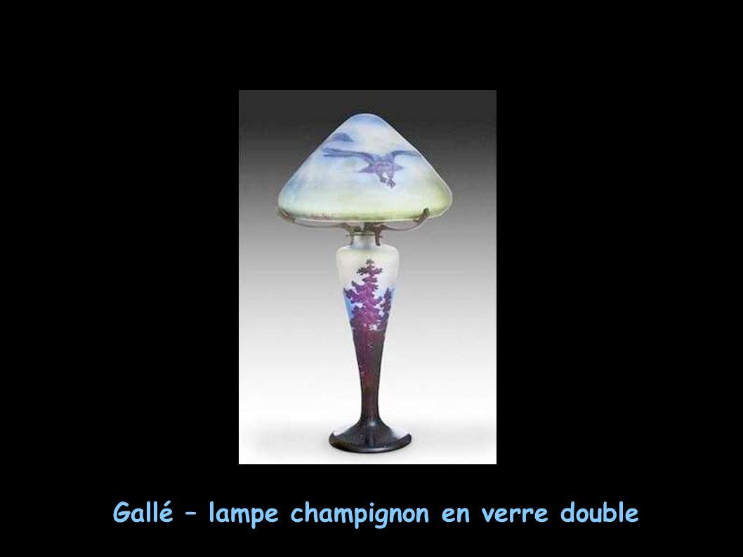 Gallé – lampe champignon en verre double