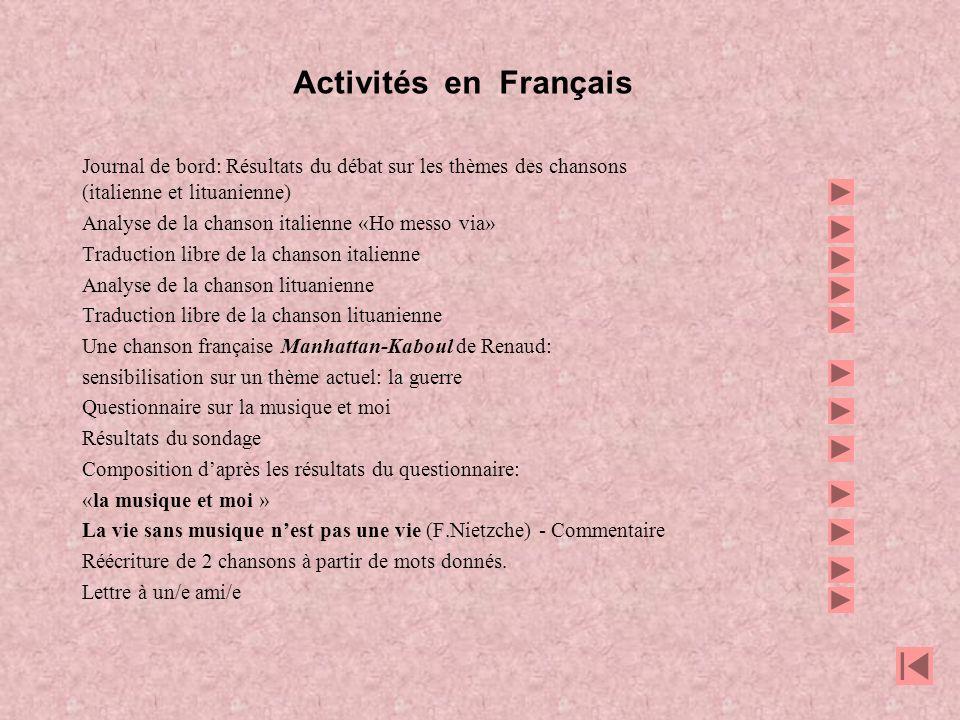 Activités en Français Journal de bord: Résultats du débat sur les thèmes des chansons. (italienne et lituanienne)