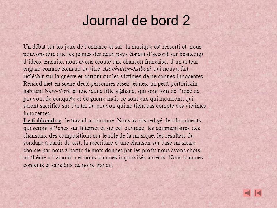 Journal de bord 2 Un débat sur les jeux de l'enfance et sur la musique est ressorti et nous.