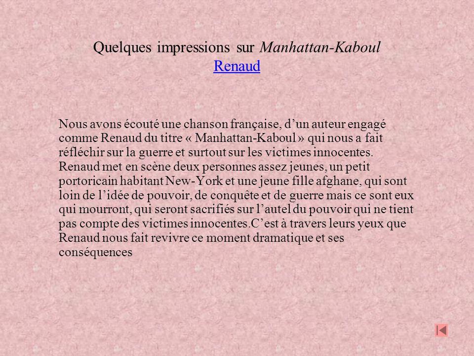 Quelques impressions sur Manhattan-Kaboul Renaud