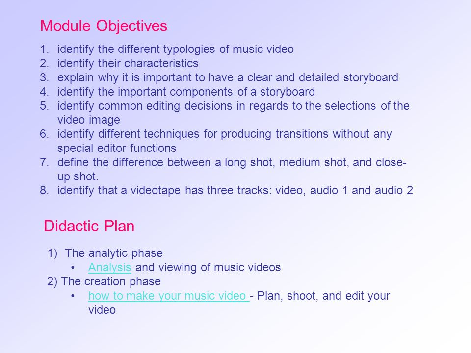 Module Objectives Didactic Plan
