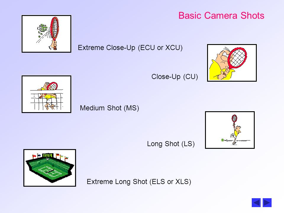 Basic Camera Shots Extreme Close-Up (ECU or XCU) Close-Up (CU)