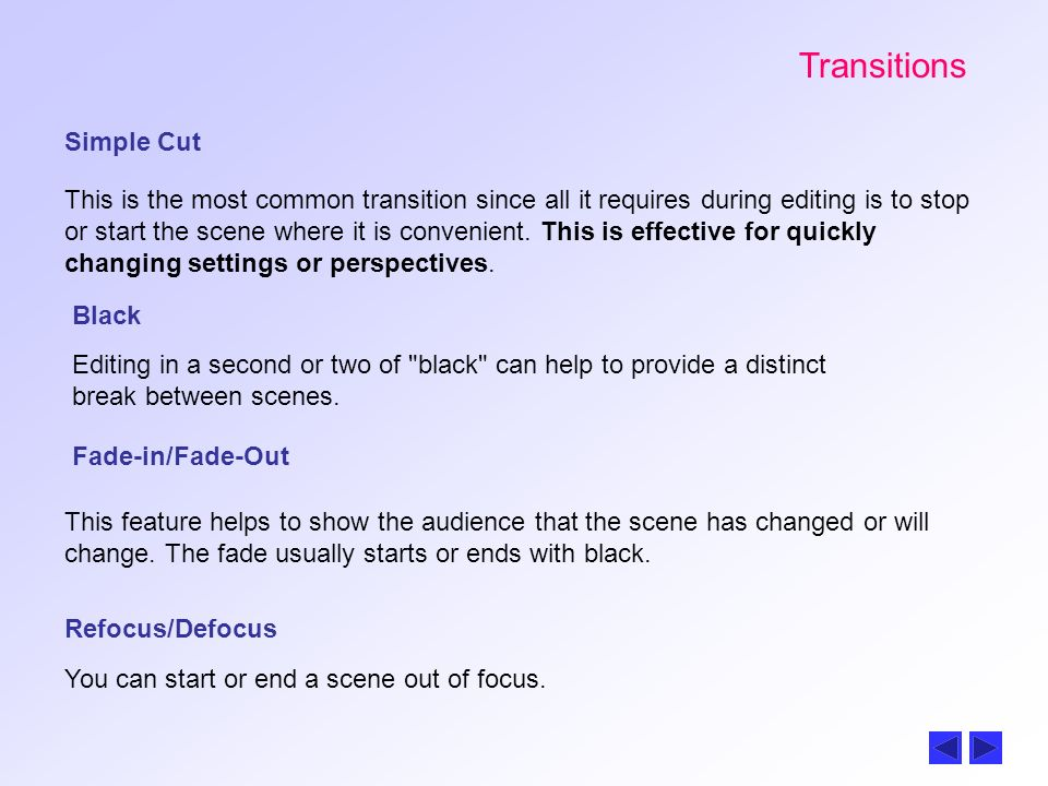 Transitions Simple Cut