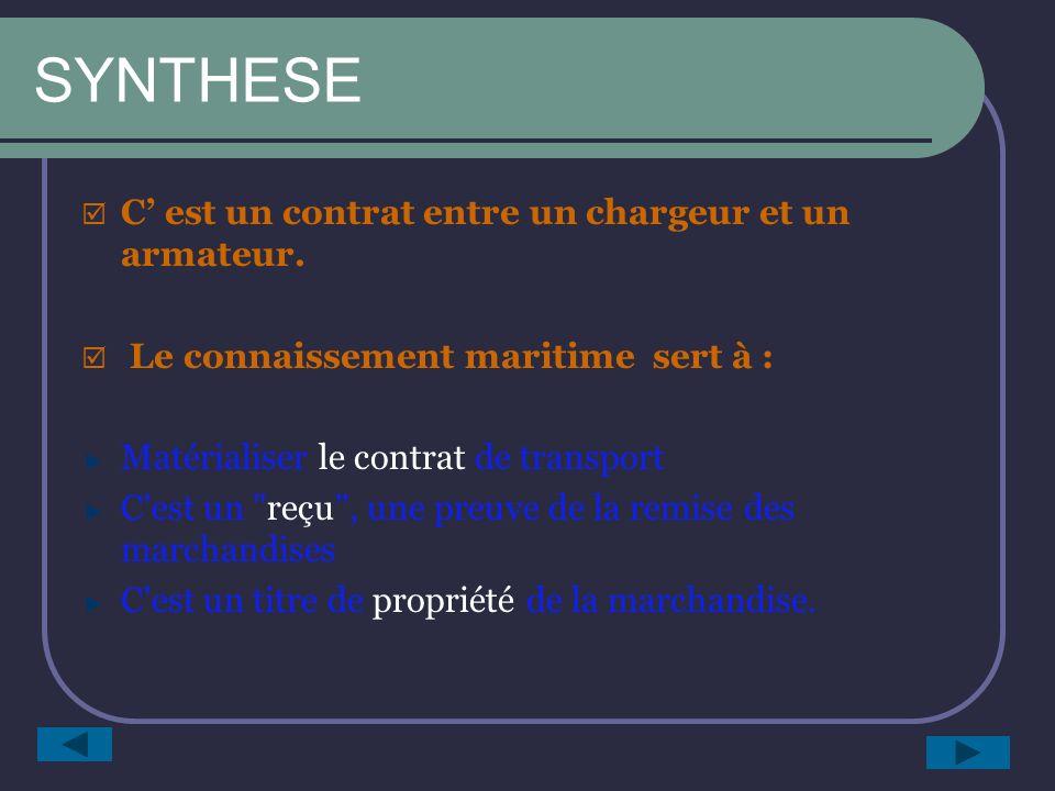 SYNTHESE C' est un contrat entre un chargeur et un armateur.