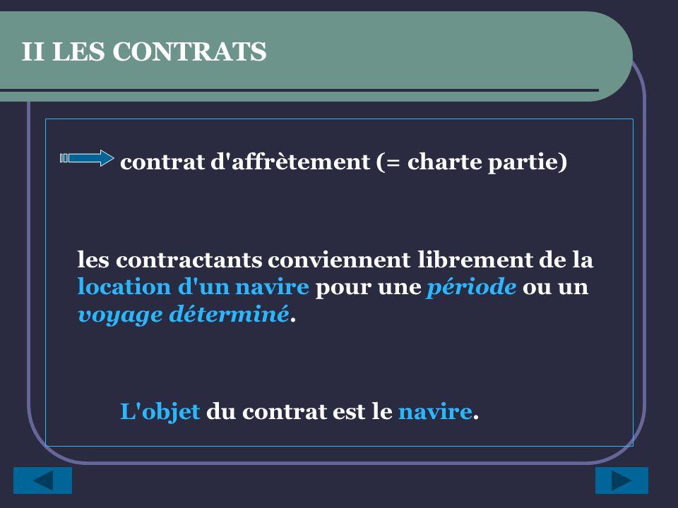 II LES CONTRATS contrat d affrètement (= charte partie)