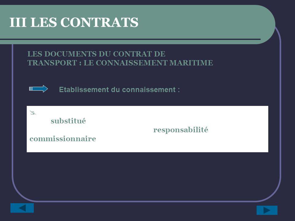 III LES CONTRATS LES DOCUMENTS DU CONTRAT DE