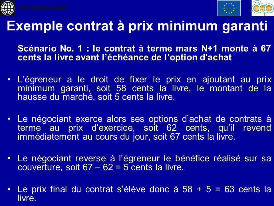 Exemple contrat à prix minimum garanti