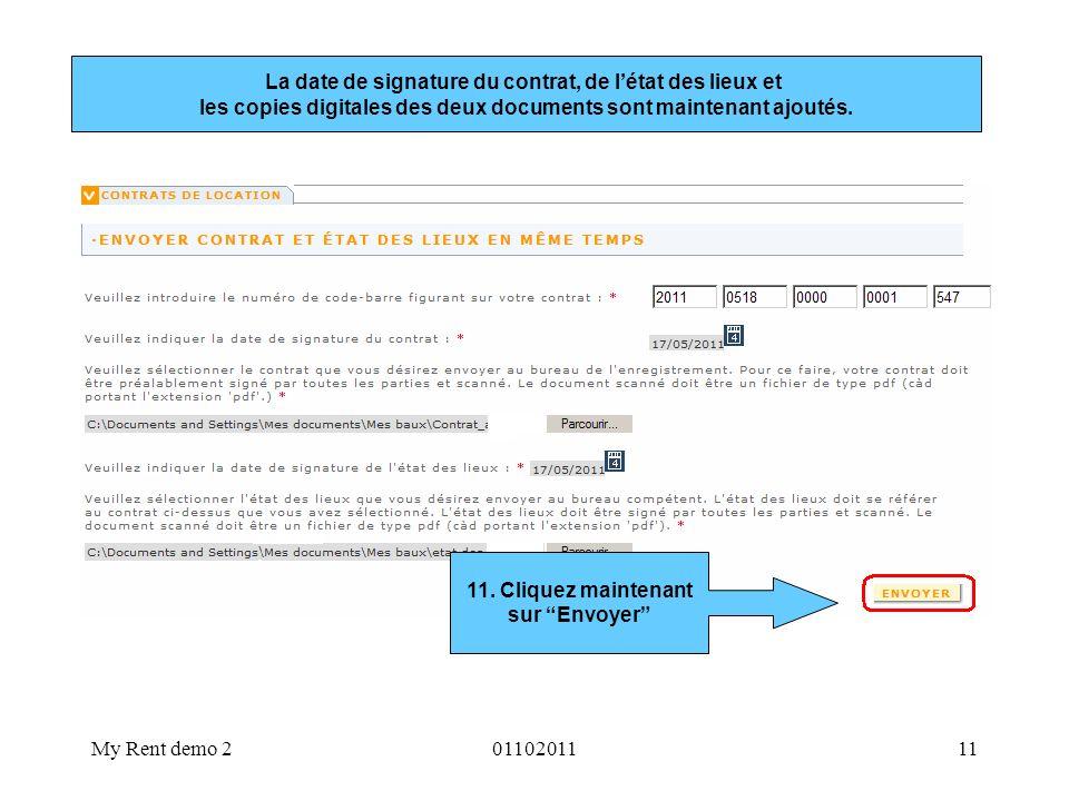 La date de signature du contrat, de l'état des lieux et