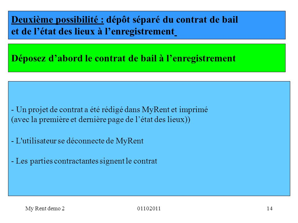 Deuxième possibilité : dépôt séparé du contrat de bail