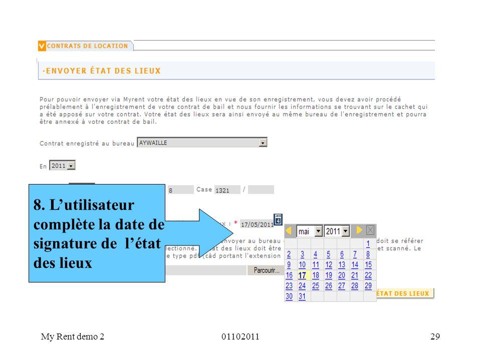 8. L'utilisateur complète la date de signature de l'état des lieux