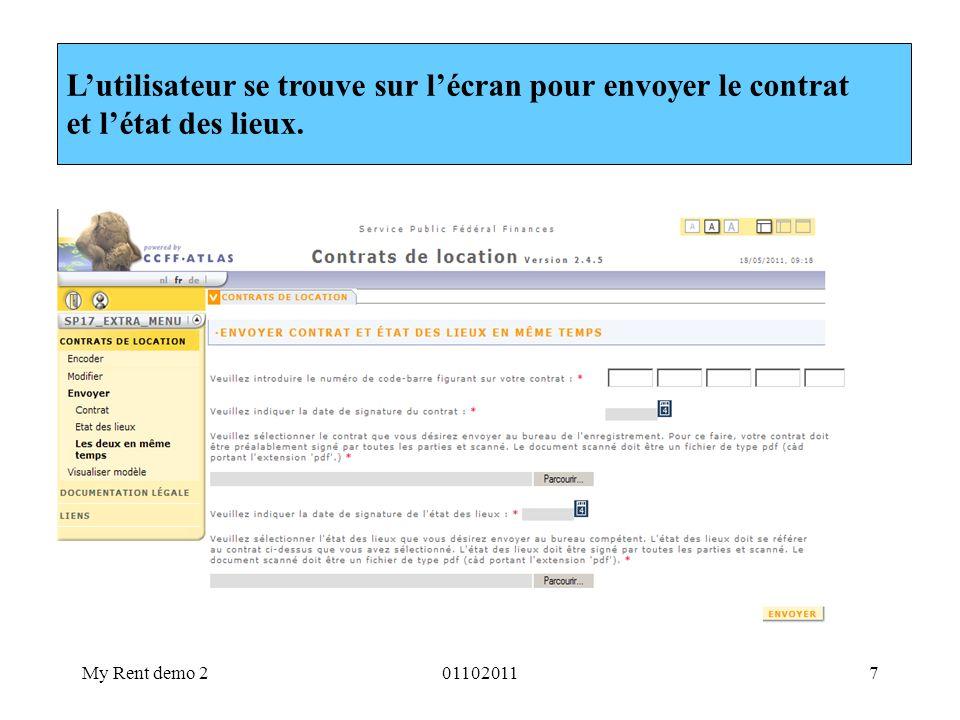 L'utilisateur se trouve sur l'écran pour envoyer le contrat