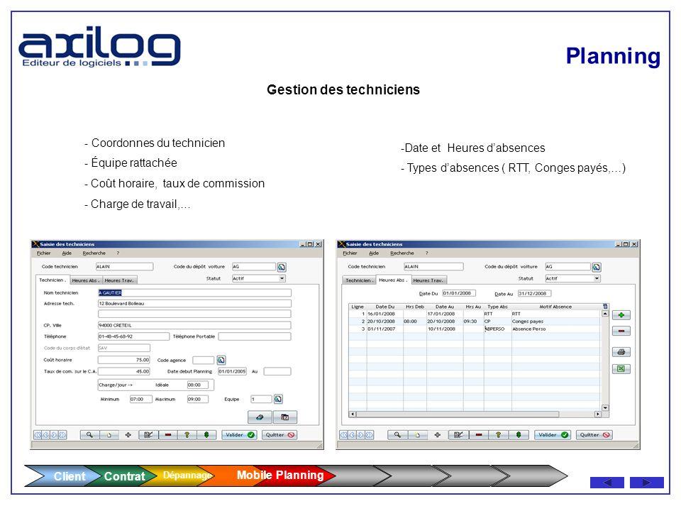 Planning Client Gestion des techniciens - Coordonnes du technicien