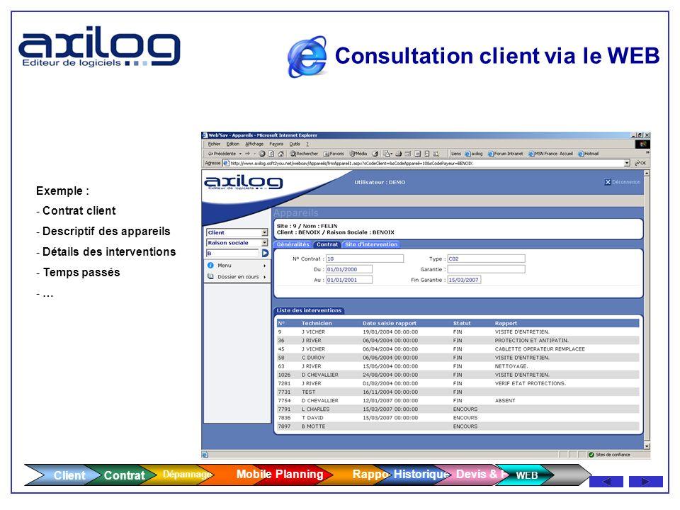 Consultation client via le WEB