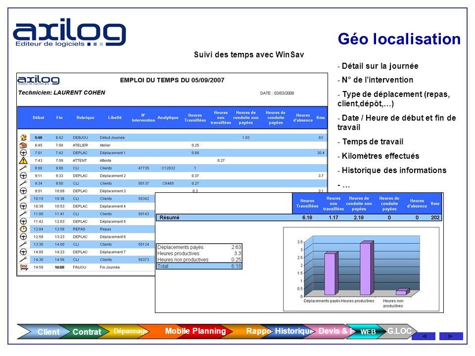 Géo localisation Client WEB Suivi des temps avec WinSav