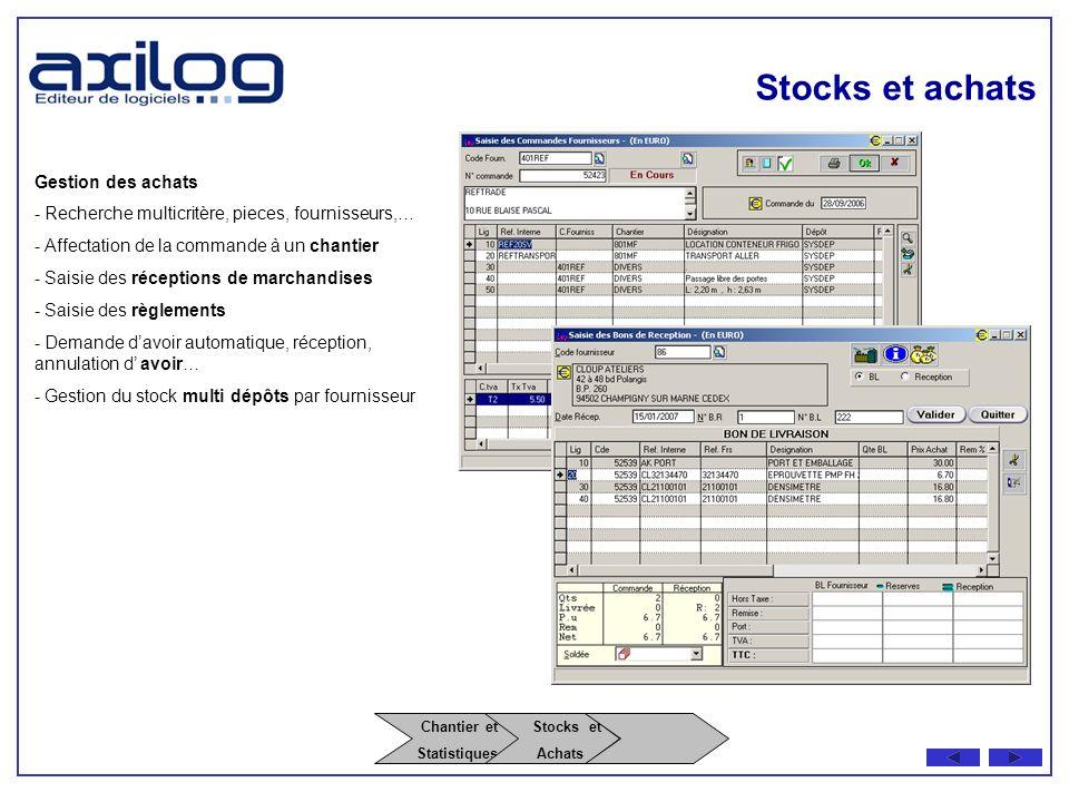 Stocks et achats Chantier et Stocks et Gestion des achats