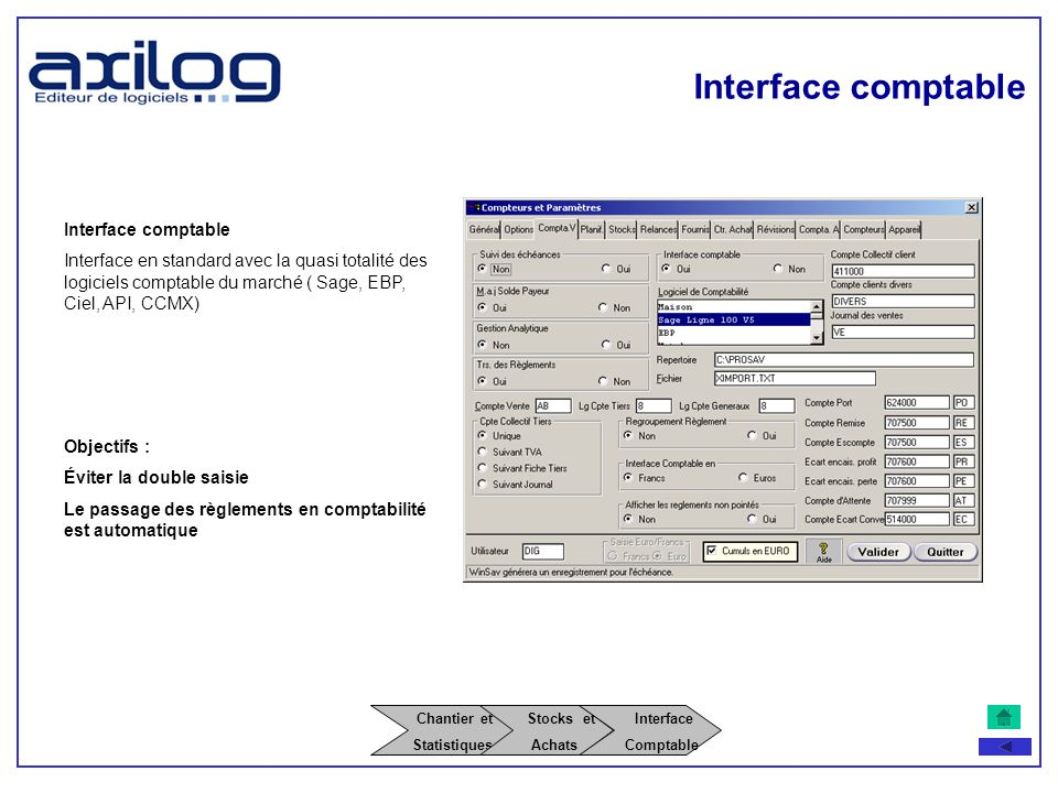 Interface comptable Chantier et Stocks et Interface
