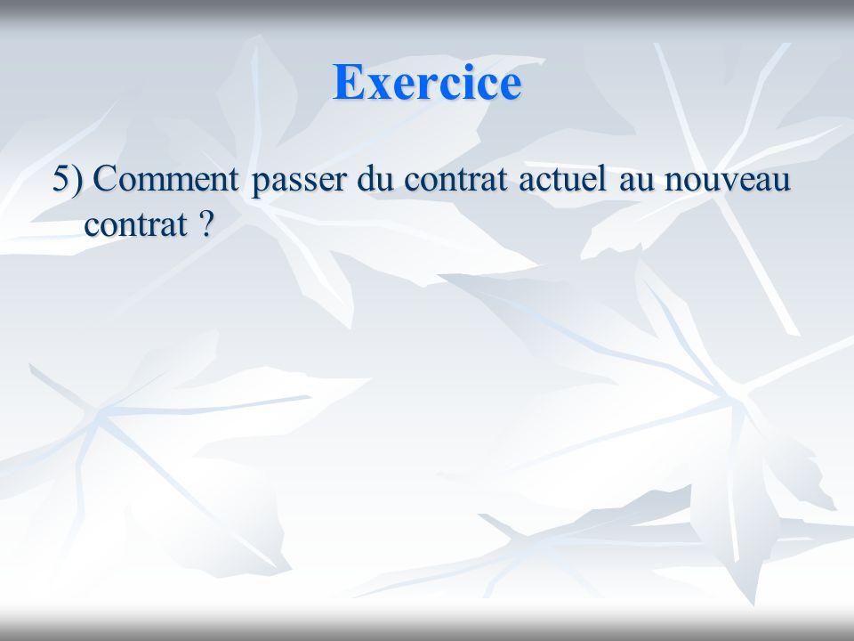 Exercice 5) Comment passer du contrat actuel au nouveau contrat