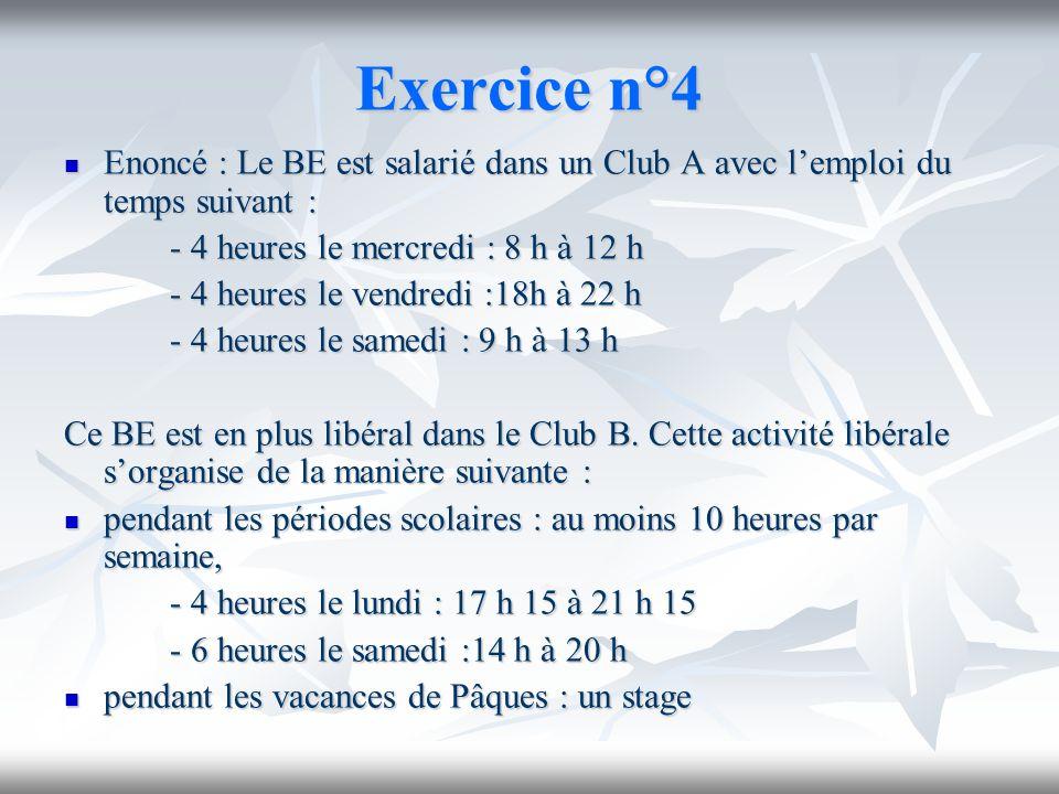 Exercice n°4Enoncé : Le BE est salarié dans un Club A avec l'emploi du temps suivant : - 4 heures le mercredi : 8 h à 12 h.