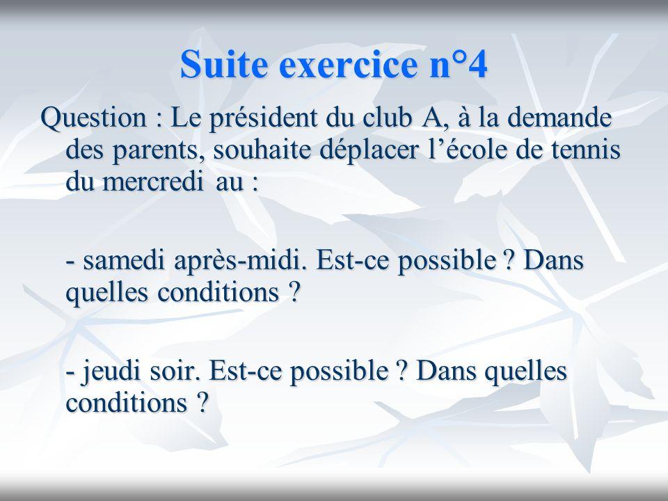 Suite exercice n°4Question : Le président du club A, à la demande des parents, souhaite déplacer l'école de tennis du mercredi au :