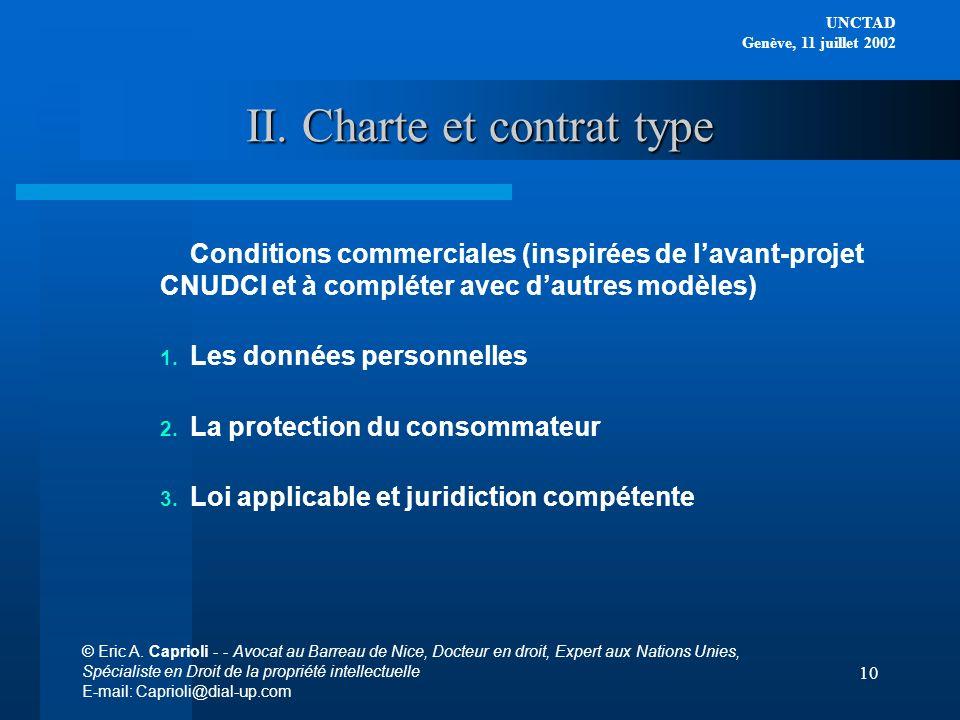 II. Charte et contrat type