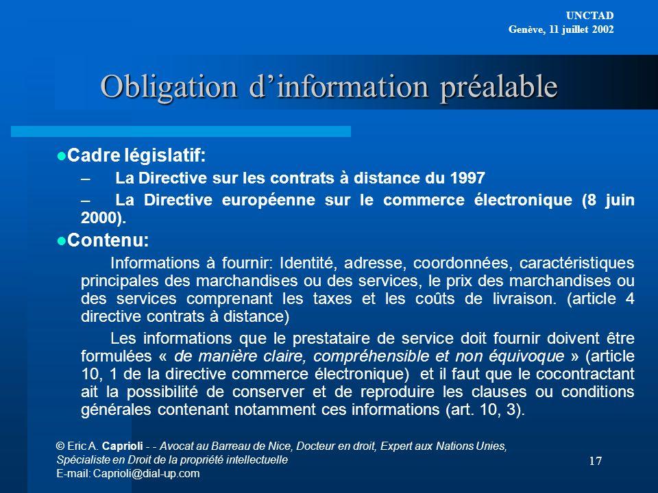 Obligation d'information préalable