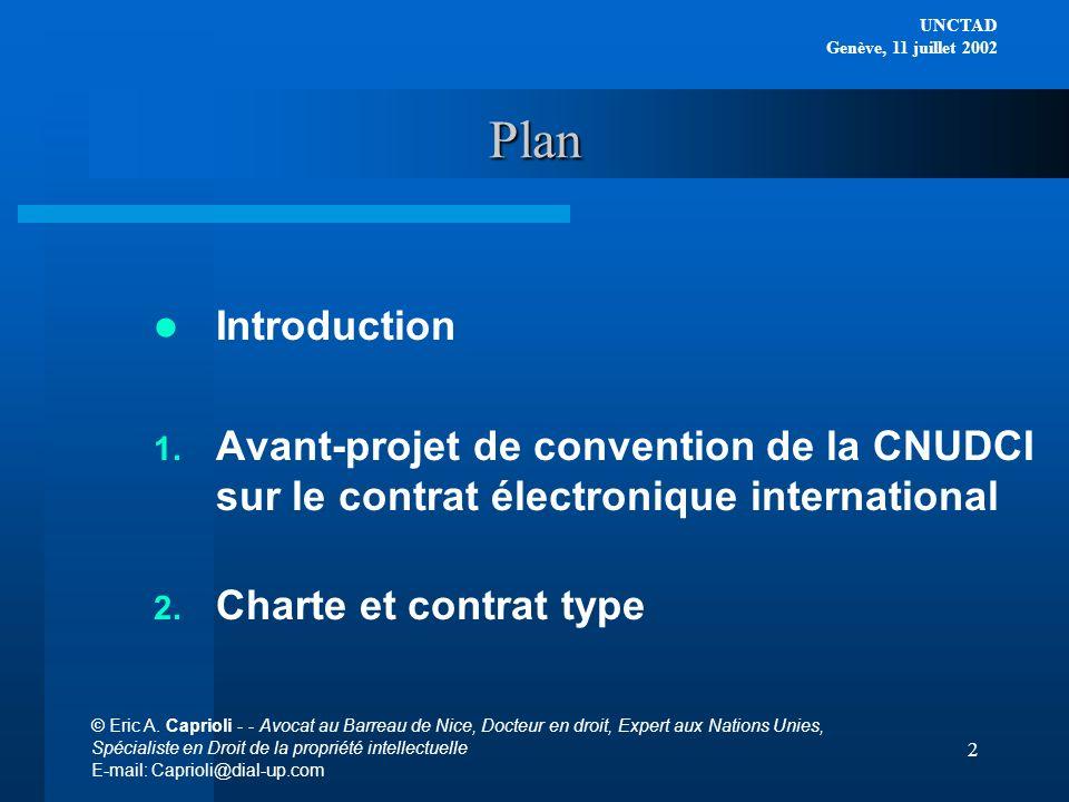 Plan Introduction. Avant-projet de convention de la CNUDCI sur le contrat électronique international.