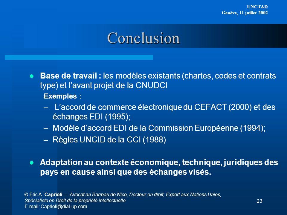 Conclusion Base de travail : les modèles existants (chartes, codes et contrats type) et l'avant projet de la CNUDCI.