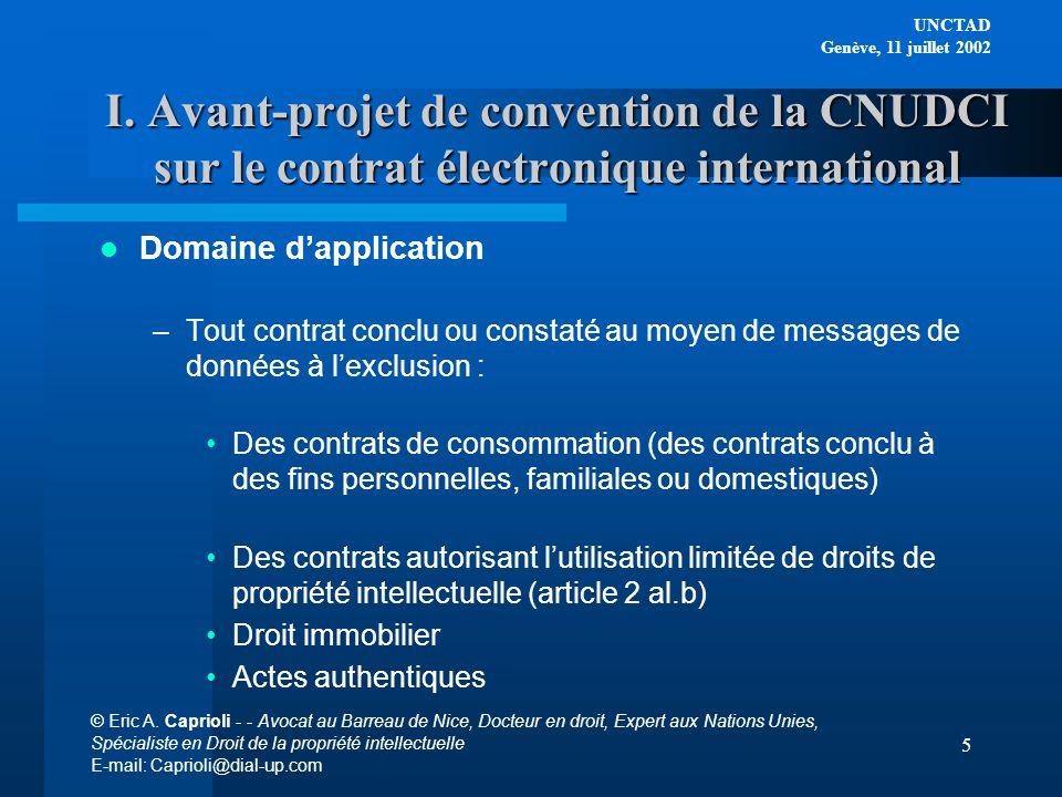I. Avant-projet de convention de la CNUDCI sur le contrat électronique international