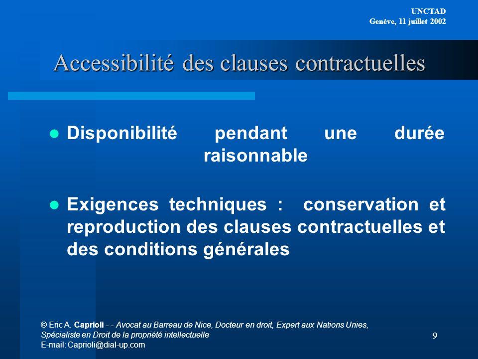 Accessibilité des clauses contractuelles