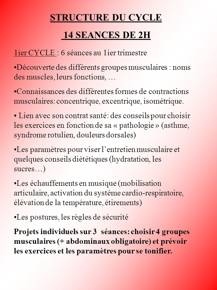 STRUCTURE DU CYCLE 14 SEANCES DE 2H