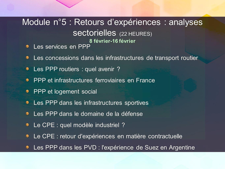 Module n°5 : Retours d'expériences : analyses sectorielles (22 HEURES) 8 février-16 février