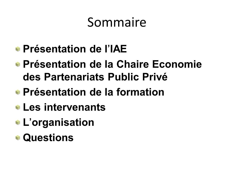 Sommaire Présentation de l'IAE