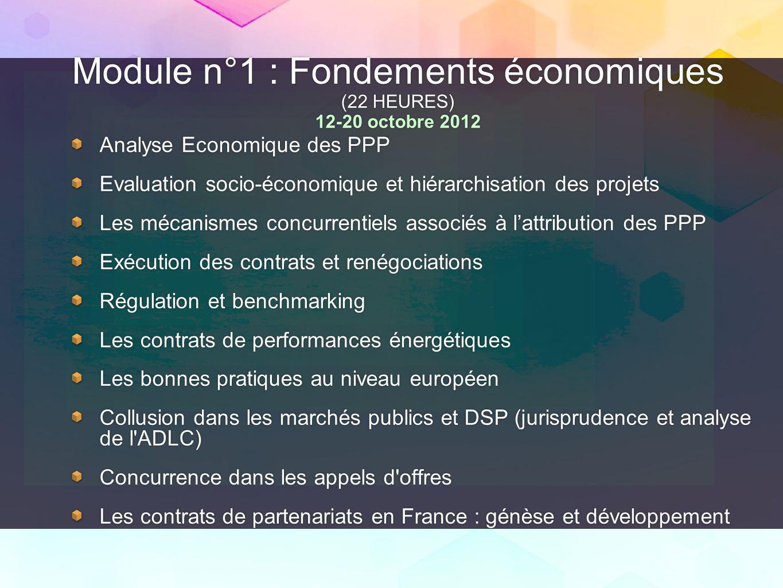 Module n°1 : Fondements économiques (22 HEURES) 12-20 octobre 2012