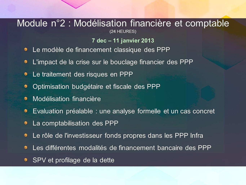 Module n°2 : Modélisation financière et comptable (24 HEURES) 7 dec – 11 janvier 2013