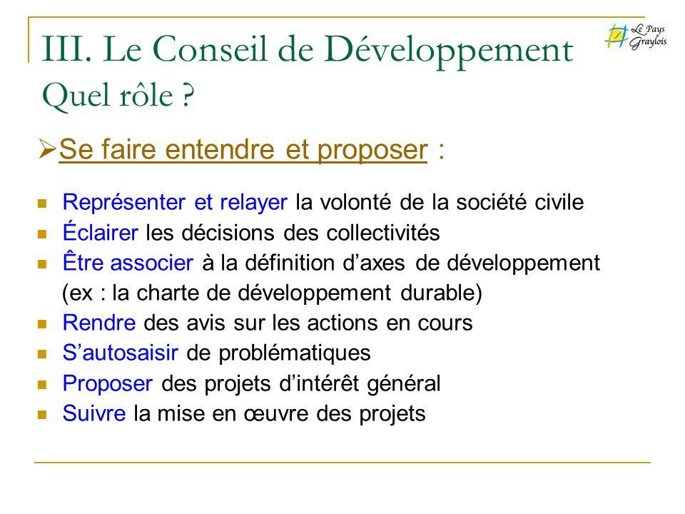 III. Le Conseil de Développement Quel rôle