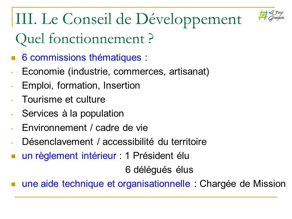 III. Le Conseil de Développement Quel fonctionnement
