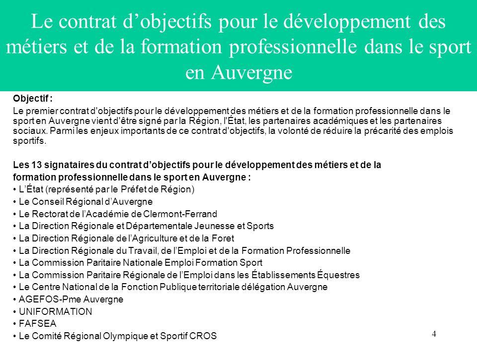 Le contrat d'objectifs pour le développement des métiers et de la formation professionnelle dans le sport en Auvergne