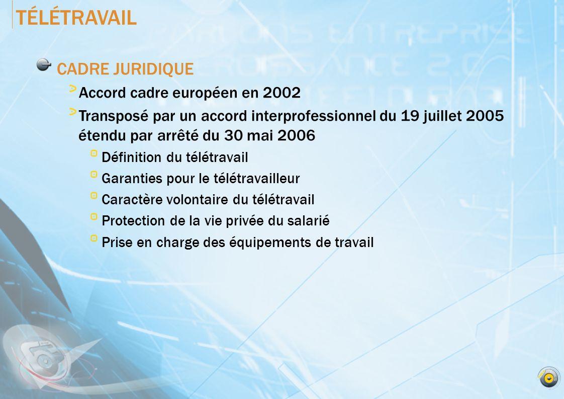 TÉLÉTRAVAIL CADRE JURIDIQUE Accord cadre européen en 2002