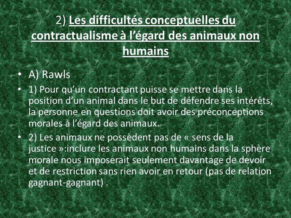 2) Les difficultés conceptuelles du contractualisme à l'égard des animaux non humains